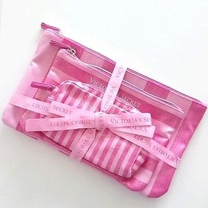 NWT Victoria's Secret Iconic Stripe Makeup Bag Set
